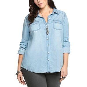 Torrid light wash denim blouse